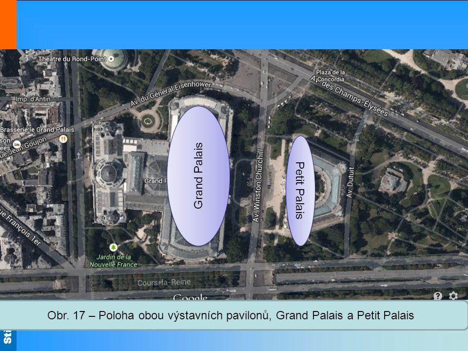 Obr. 17 – Poloha obou výstavních pavilonů, Grand Palais a Petit Palais