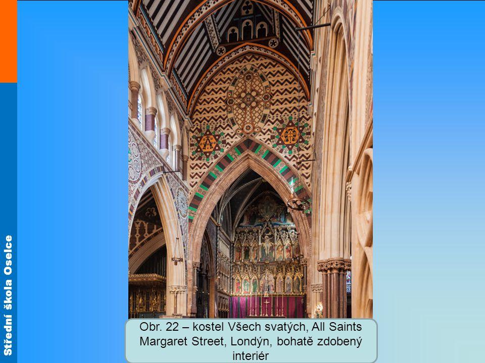 Obr. 22 – kostel Všech svatých, All Saints Margaret Street, Londýn, bohatě zdobený interiér