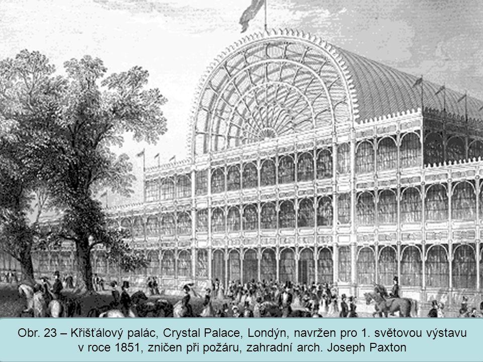 Obr. 23 – Křišťálový palác, Crystal Palace, Londýn, navržen pro 1