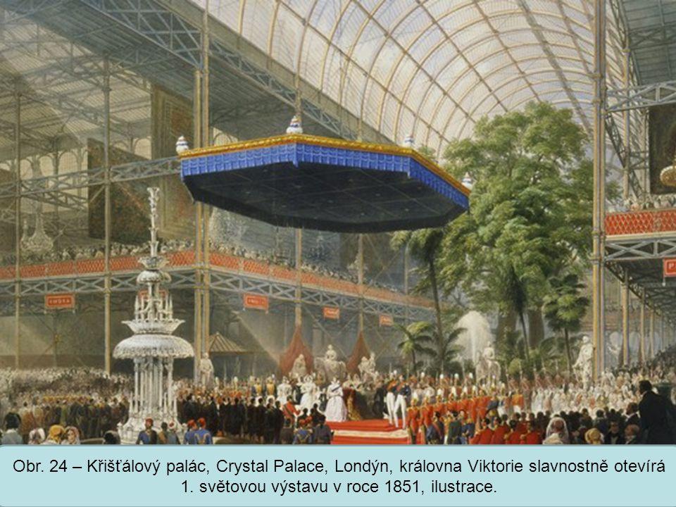 Obr. 24 – Křišťálový palác, Crystal Palace, Londýn, královna Viktorie slavnostně otevírá 1.