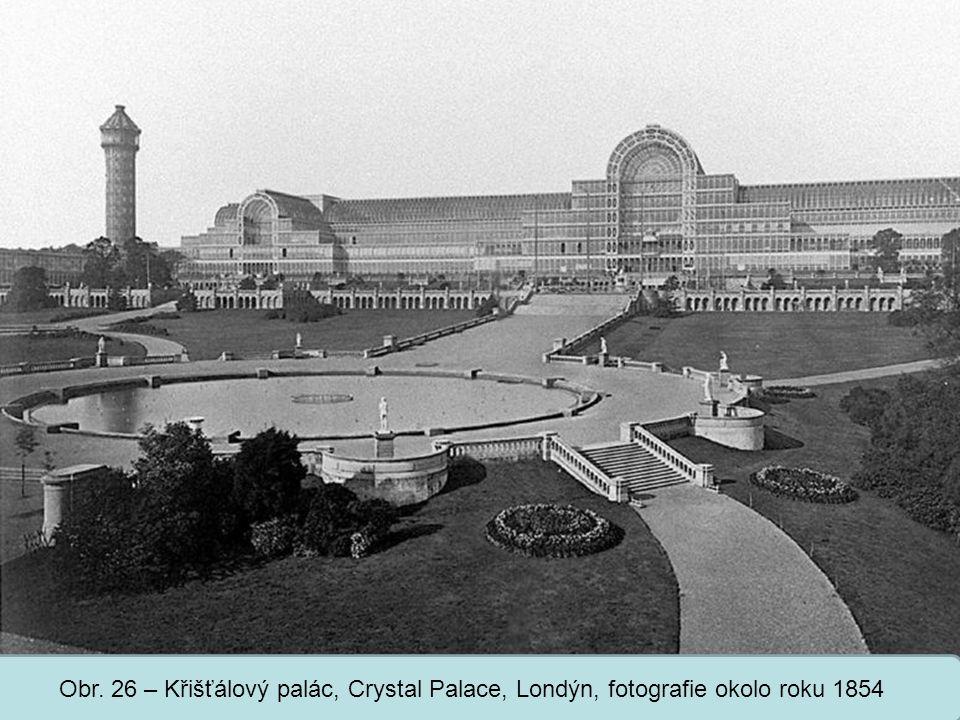 Obr. 26 – Křišťálový palác, Crystal Palace, Londýn, fotografie okolo roku 1854