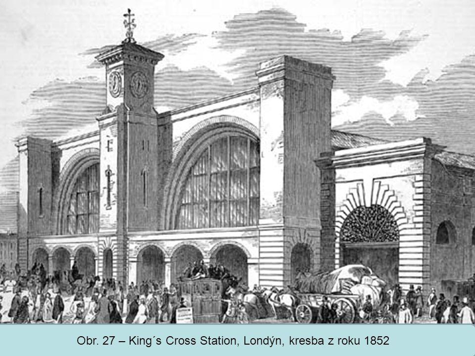 Obr. 27 – King´s Cross Station, Londýn, kresba z roku 1852