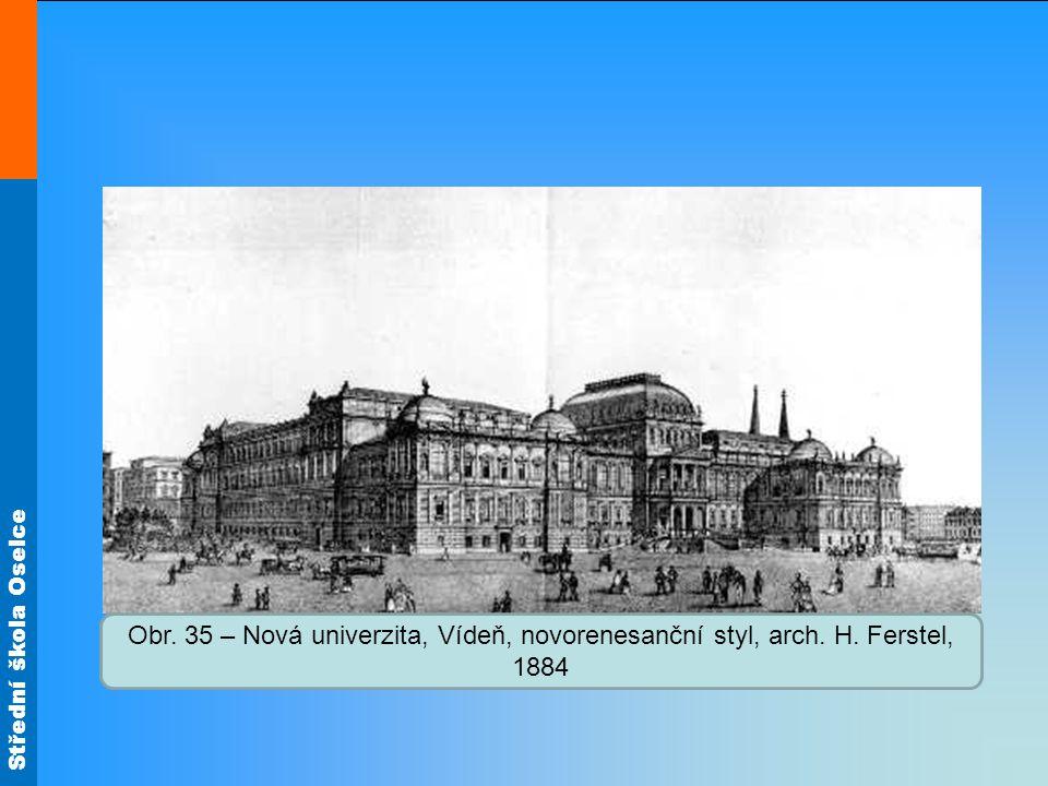 Obr. 35 – Nová univerzita, Vídeň, novorenesanční styl, arch. H