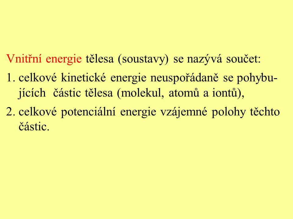 Vnitřní energie tělesa (soustavy) se nazývá součet: