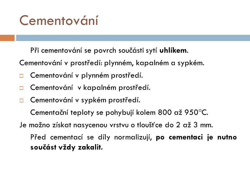 Cementování Cementování v prostředí: plynném, kapalném a sypkém.