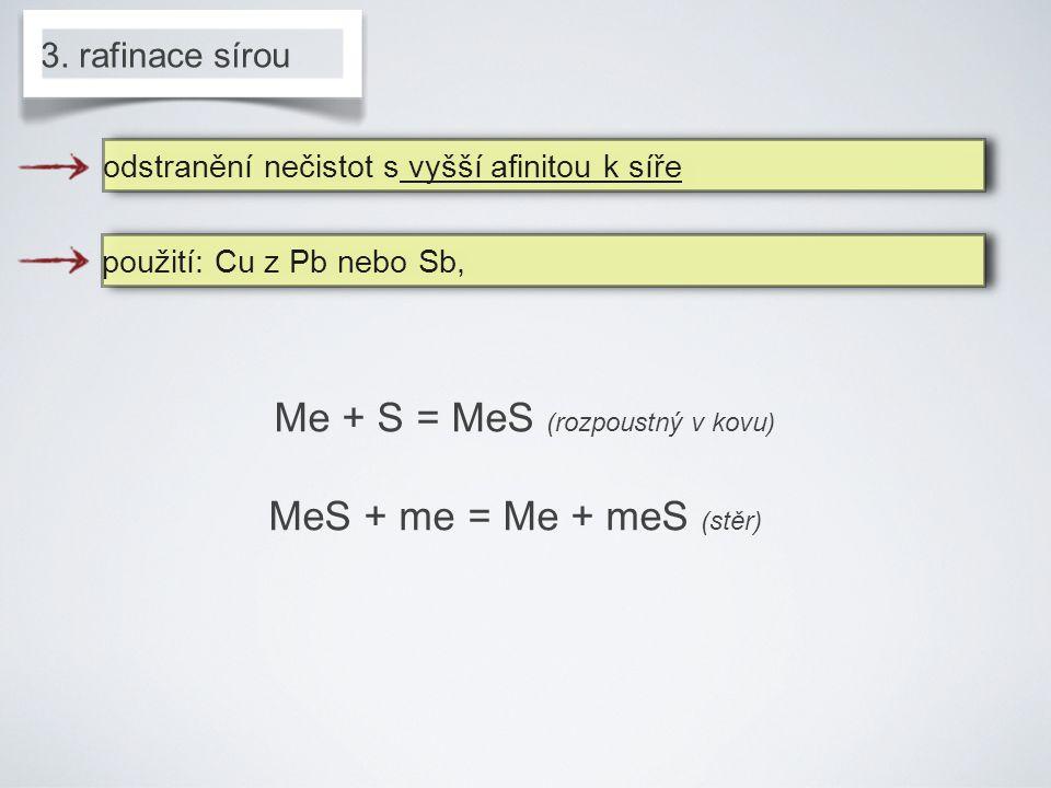 Me + S = MeS (rozpoustný v kovu)
