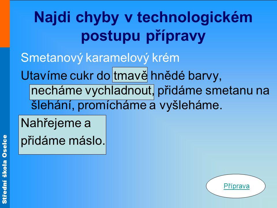 Najdi chyby v technologickém postupu přípravy