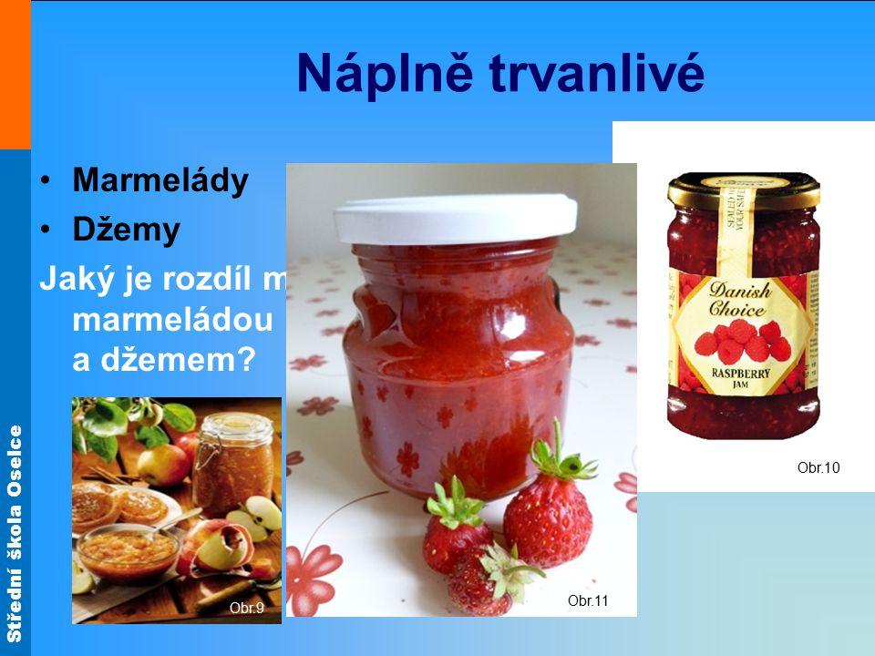 Náplně trvanlivé Marmelády Džemy