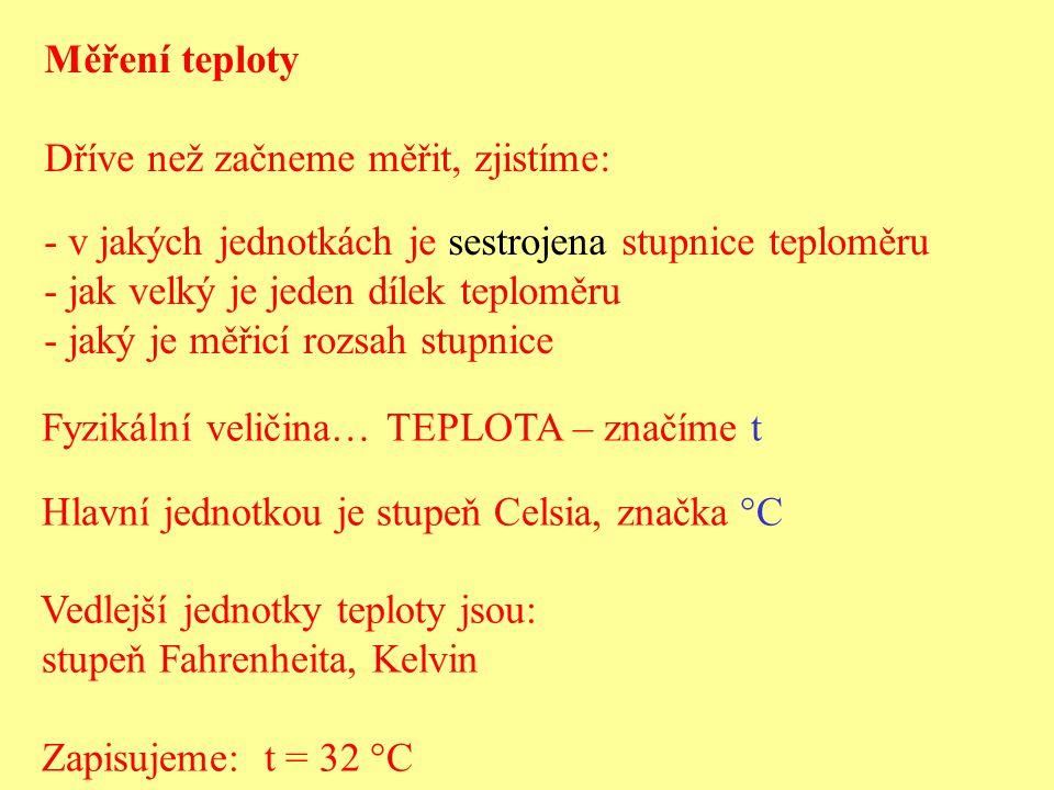 Měření teploty Dříve než začneme měřit, zjistíme: v jakých jednotkách je sestrojena stupnice teploměru.