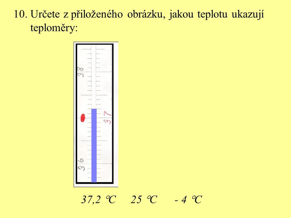 10. Určete z přiloženého obrázku, jakou teplotu ukazují