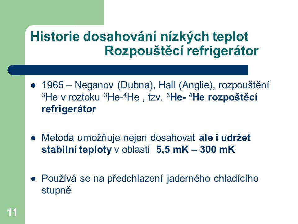Historie dosahování nízkých teplot Rozpouštěcí refrigerátor