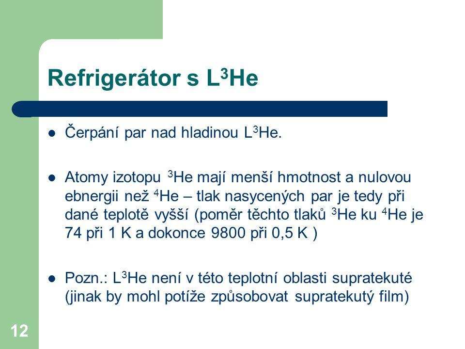Refrigerátor s L3He Čerpání par nad hladinou L3He.