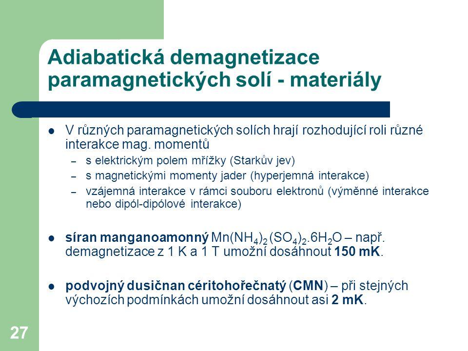 Adiabatická demagnetizace paramagnetických solí - materiály