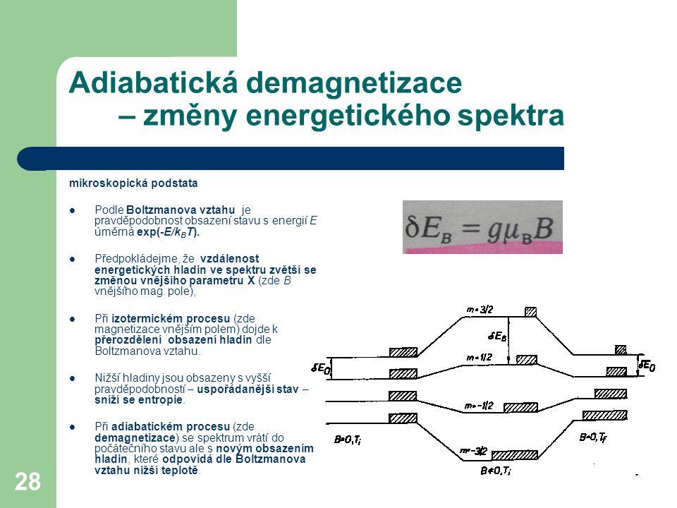 Adiabatická demagnetizace – změny energetického spektra