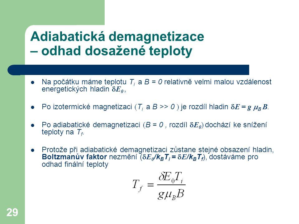 Adiabatická demagnetizace – odhad dosažené teploty