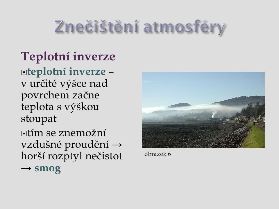 Znečištění atmosféry Teplotní inverze