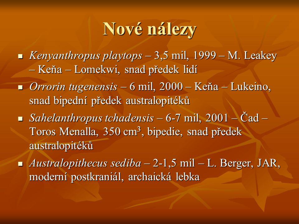 Nové nálezy Kenyanthropus playtops – 3,5 mil, 1999 – M. Leakey – Keňa – Lomekwi, snad předek lidí.