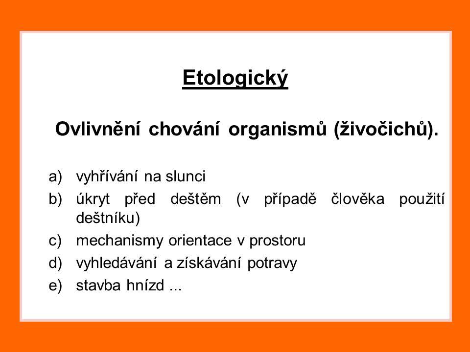 Ovlivnění chování organismů (živočichů).