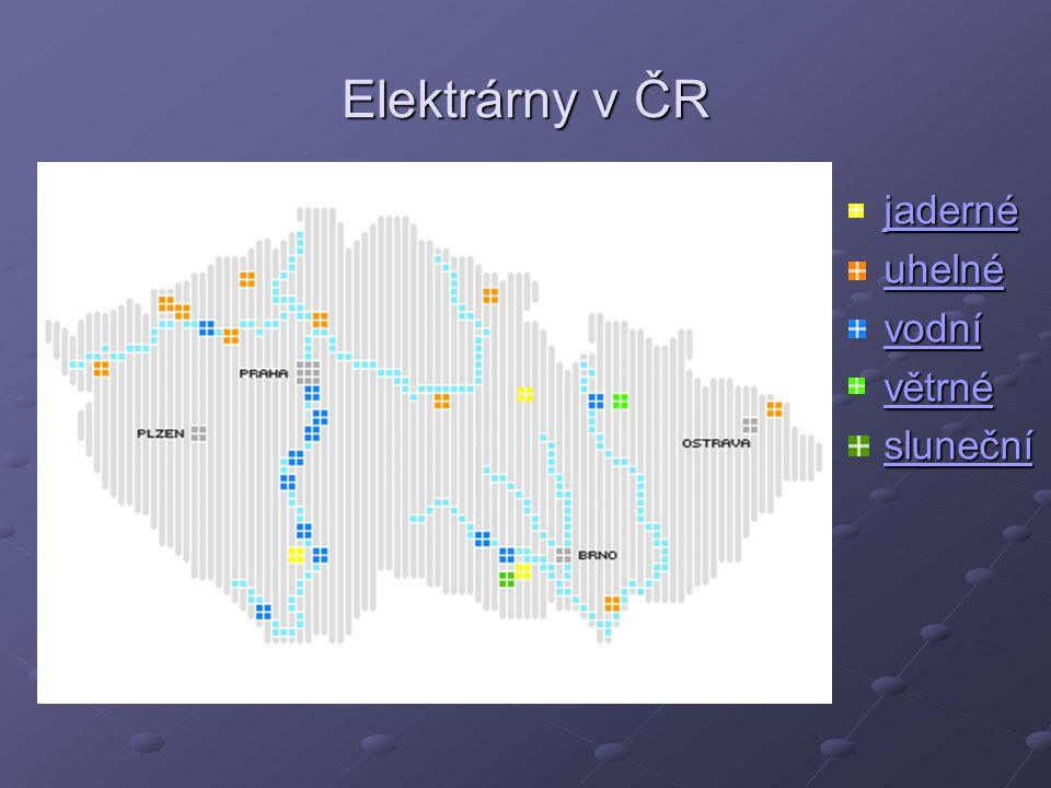 Elektrárny v ČR jaderné uhelné vodní větrné sluneční