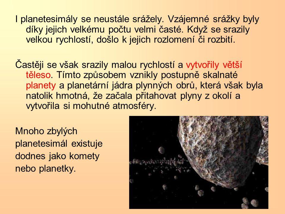 I planetesimály se neustále srážely