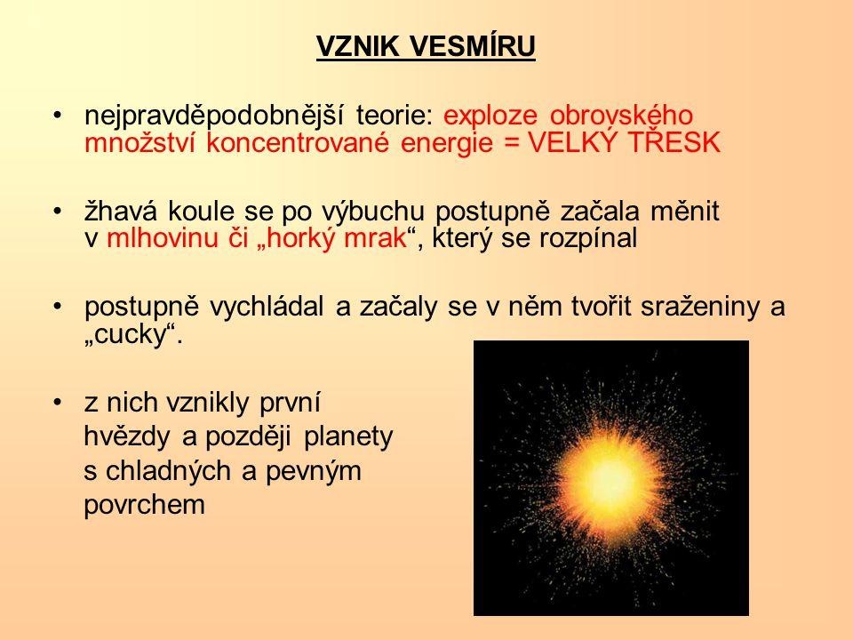 VZNIK VESMÍRU nejpravděpodobnější teorie: exploze obrovského množství koncentrované energie = VELKÝ TŘESK.
