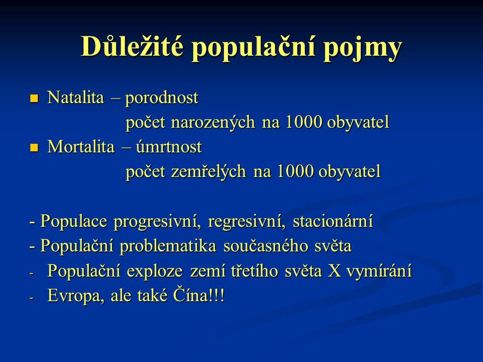 Důležité populační pojmy