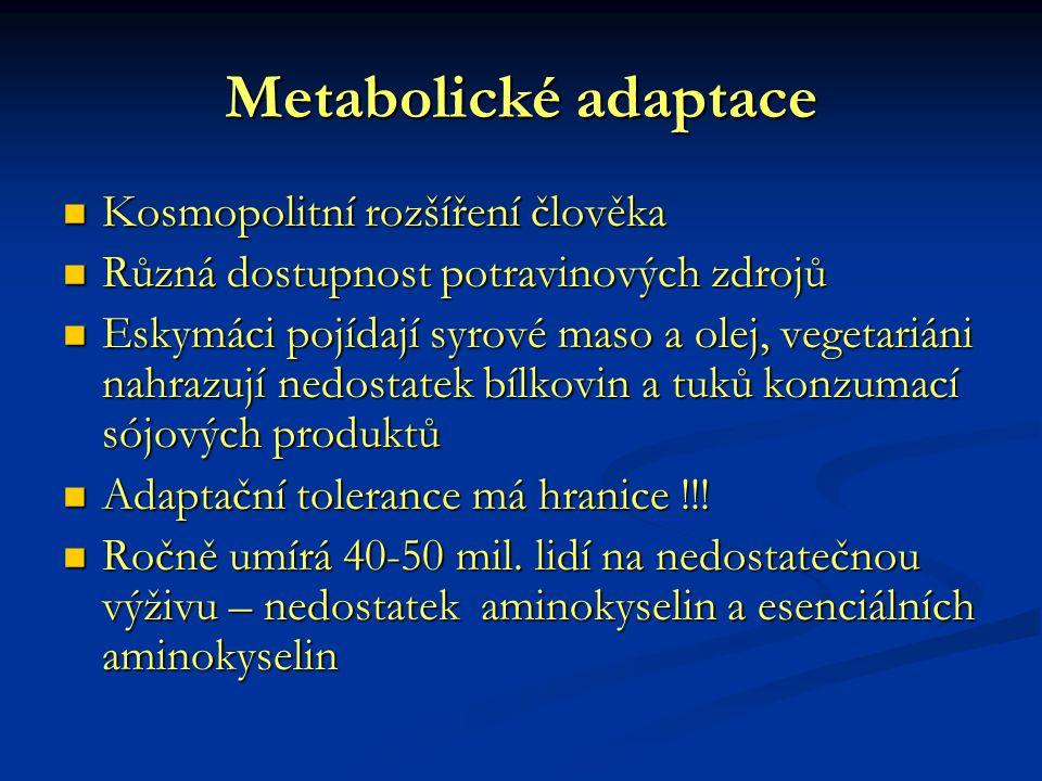Metabolické adaptace Kosmopolitní rozšíření člověka