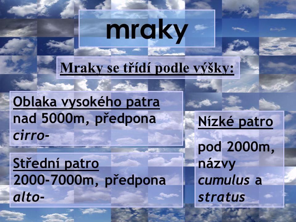 mraky Mraky se třídí podle výšky: