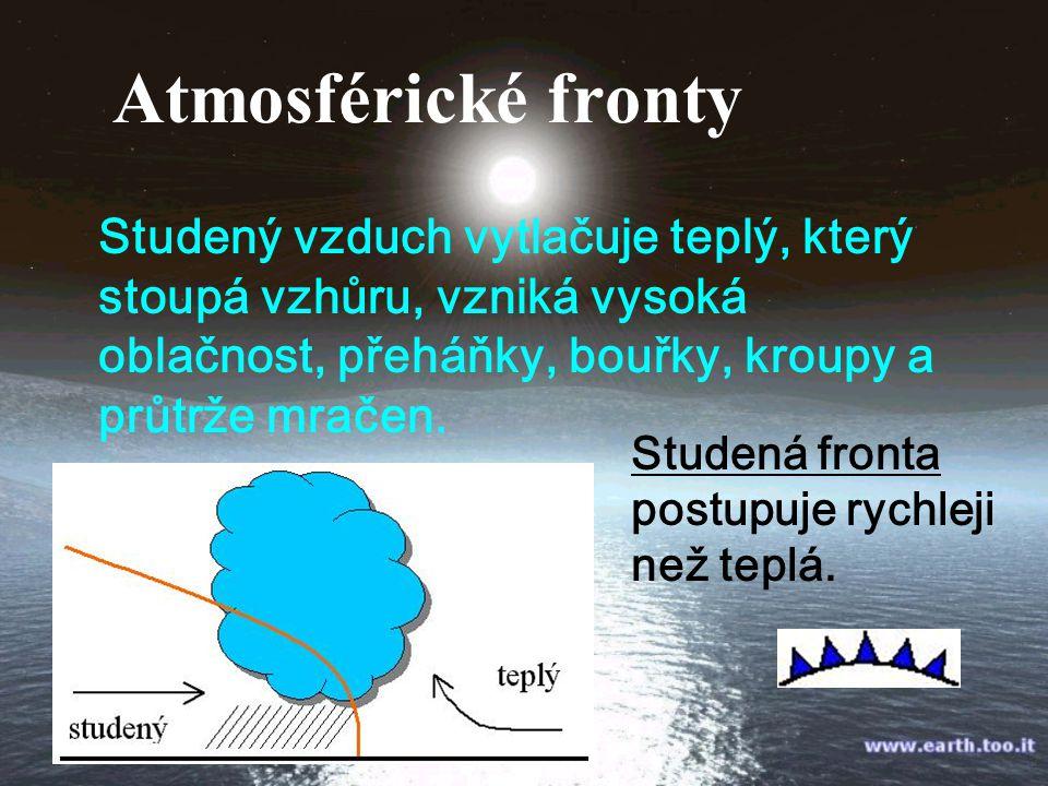 Atmosférické fronty Studený vzduch vytlačuje teplý, který stoupá vzhůru, vzniká vysoká oblačnost, přeháňky, bouřky, kroupy a průtrže mračen.