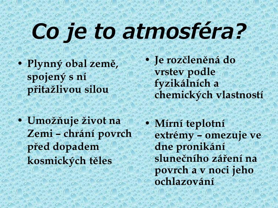 Co je to atmosféra Je rozčleněná do vrstev podle fyzikálních a chemických vlastností.