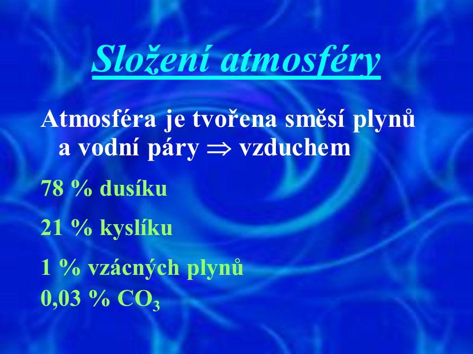 Složení atmosféry Atmosféra je tvořena směsí plynů a vodní páry  vzduchem. 78 % dusíku. 21 % kyslíku.