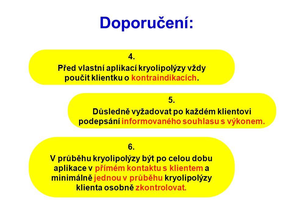 Doporučení: 4. Před vlastní aplikací kryolipolýzy vždy poučit klientku o kontraindikacích.