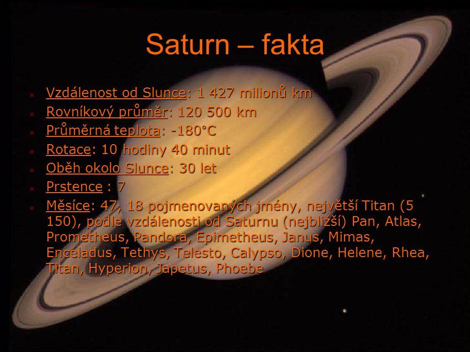 Saturn – fakta Vzdálenost od Slunce: 1 427 milionů km