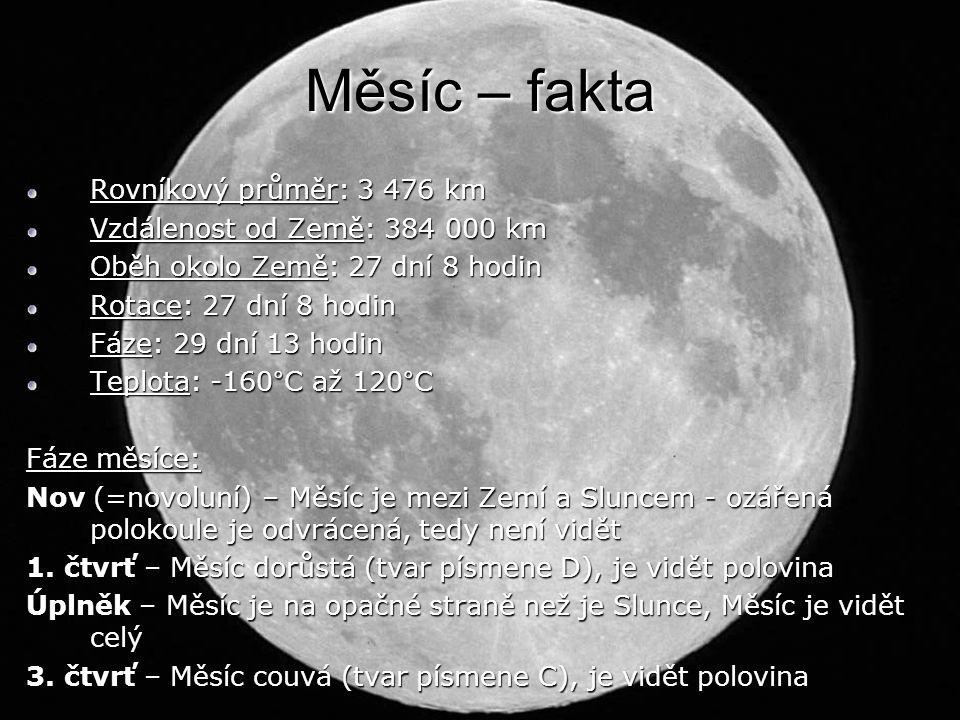 Měsíc – fakta Rovníkový průměr: 3 476 km