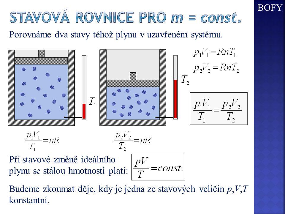 Stavová rovnice pro m = const.