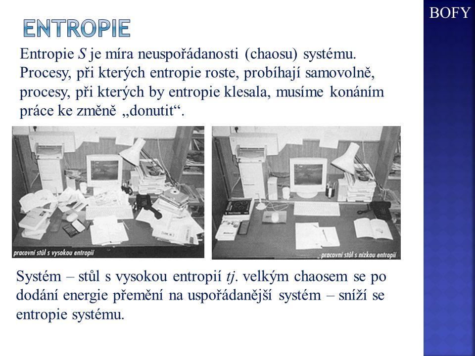 entropie BOFY Entropie S je míra neuspořádanosti (chaosu) systému.