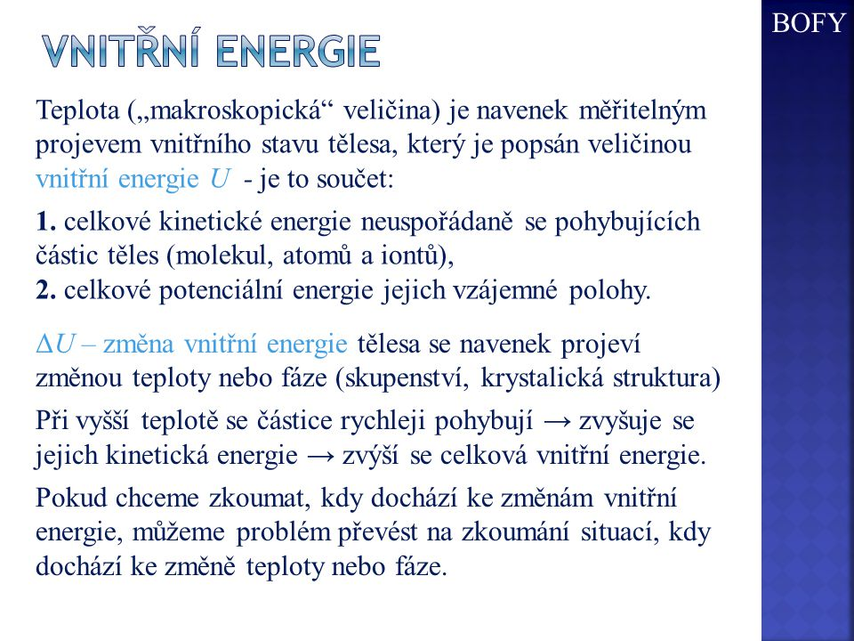 BOFY Vnitřní energie.