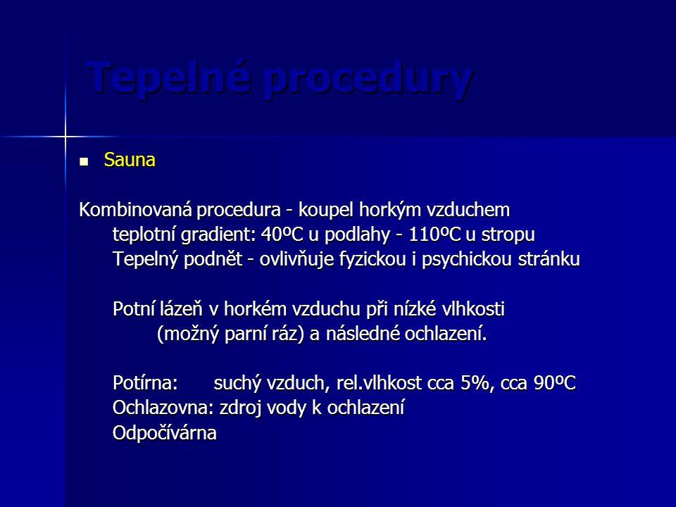 Tepelné procedury Sauna Kombinovaná procedura - koupel horkým vzduchem