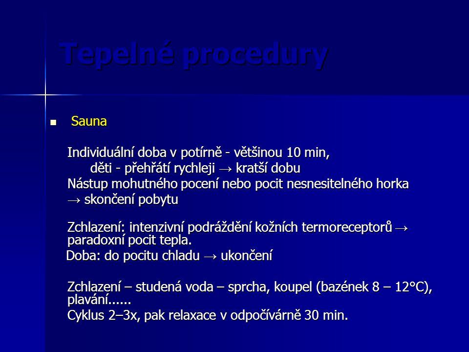 Tepelné procedury Sauna Individuální doba v potírně - většinou 10 min,