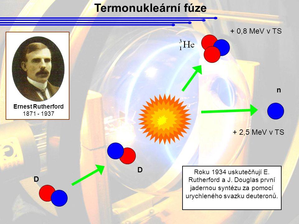 Termonukleární fúze + 0,8 MeV v TS n + 2,5 MeV v TS D D