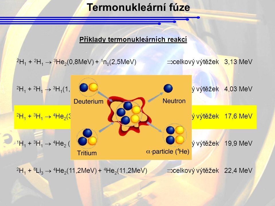 Příklady termonukleárních reakcí
