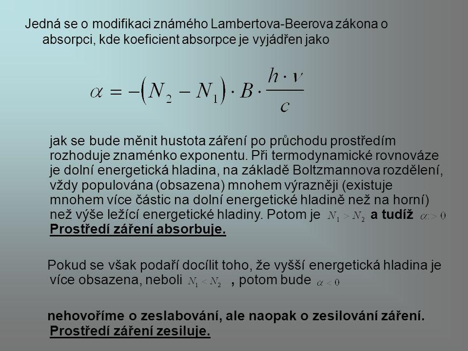 Jedná se o modifikaci známého Lambertova-Beerova zákona o absorpci, kde koeficient absorpce je vyjádřen jako