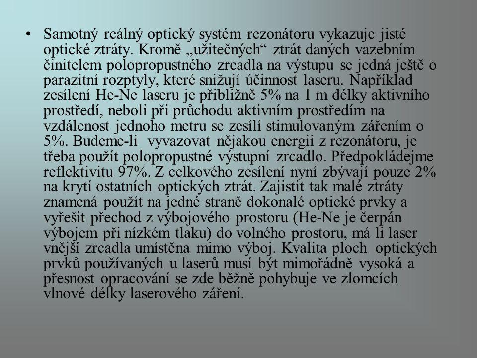 Samotný reálný optický systém rezonátoru vykazuje jisté optické ztráty