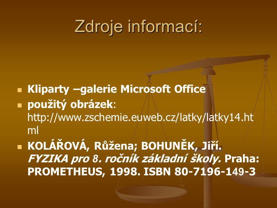 Zdroje informací: Kliparty –galerie Microsoft Office