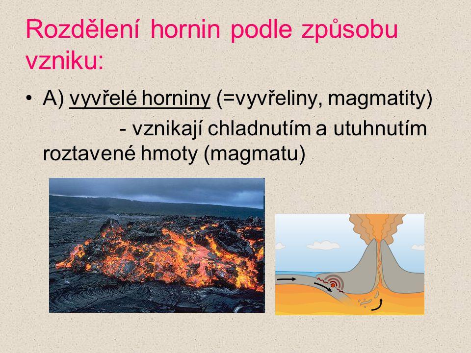 Rozdělení hornin podle způsobu vzniku: