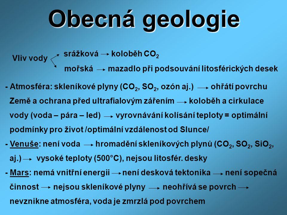 Obecná geologie srážková koloběh CO2 Vliv vody