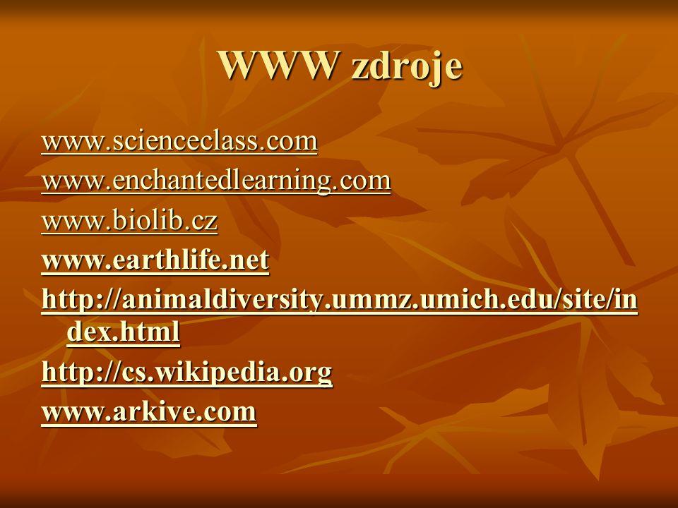 WWW zdroje www.scienceclass.com www.enchantedlearning.com