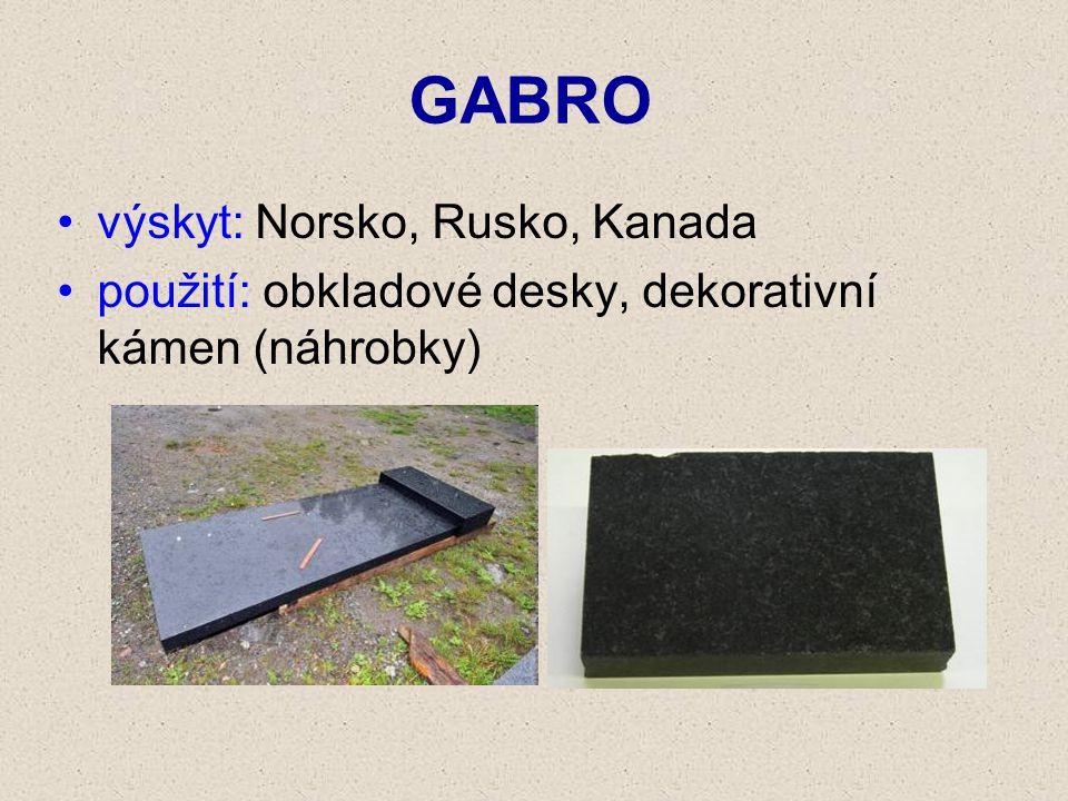 GABRO výskyt: Norsko, Rusko, Kanada