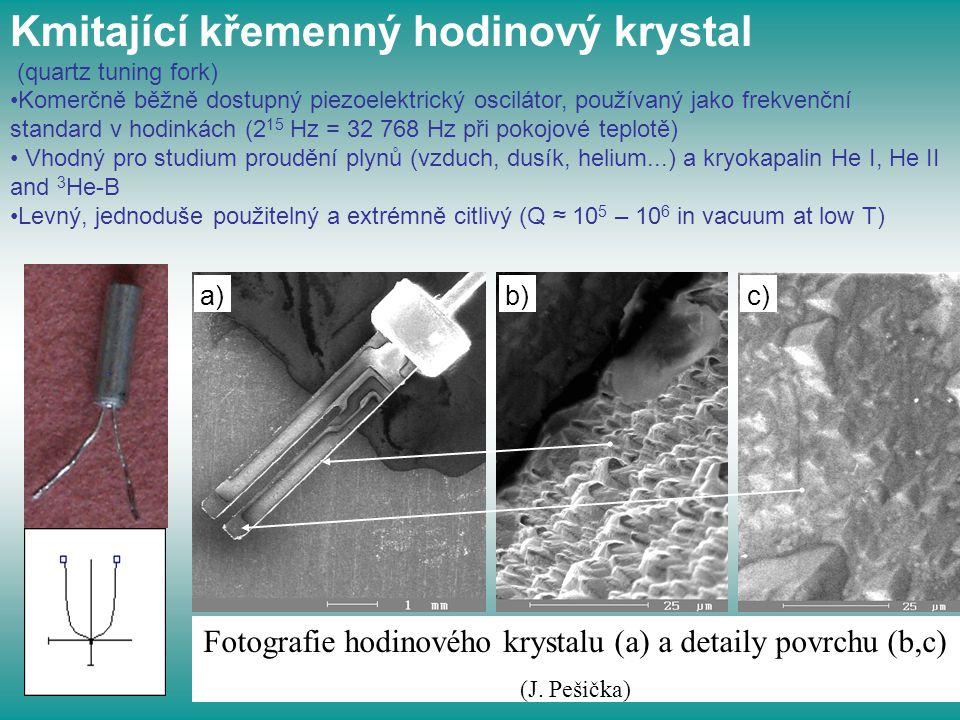 Fotografie hodinového krystalu (a) a detaily povrchu (b,c)