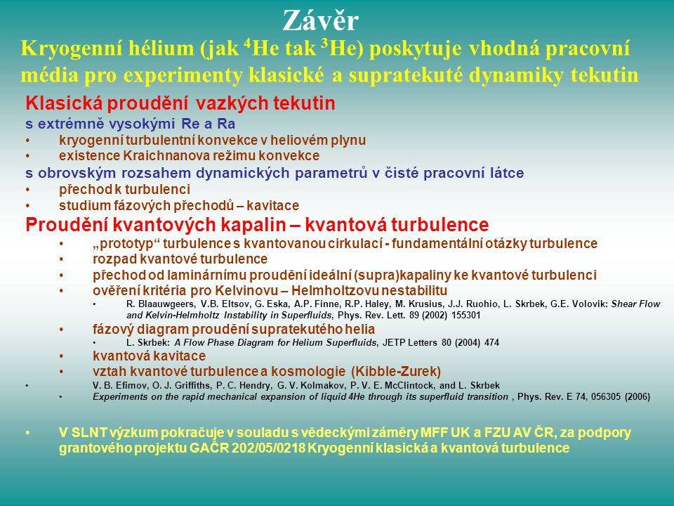 Závěr Kryogenní hélium (jak 4He tak 3He) poskytuje vhodná pracovní média pro experimenty klasické a supratekuté dynamiky tekutin.
